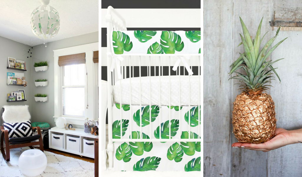 tropical palm leaves and pineapple eclectic inspired nursery design for a gender neutral or boy nursery