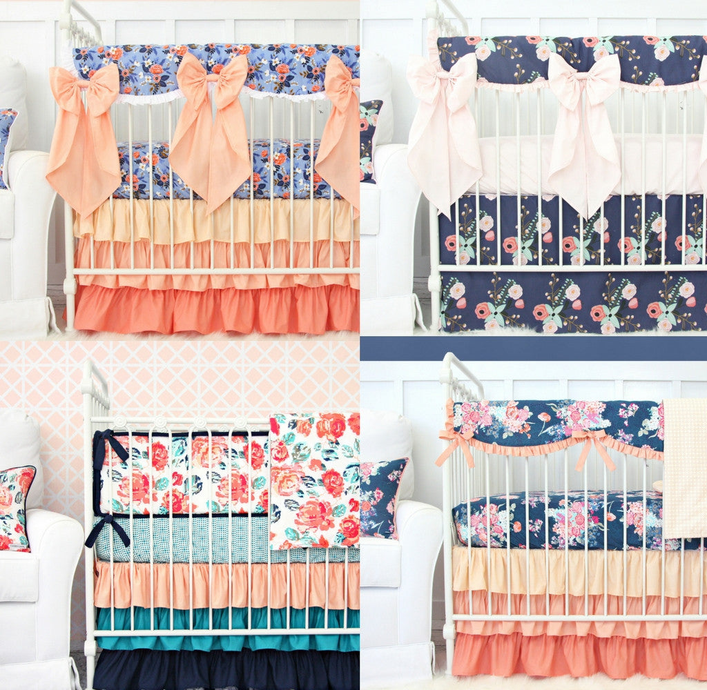 Navy and Coral Baby Girl Bedding