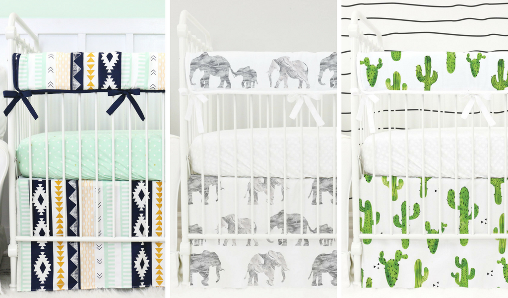 modern crib bedding picks for a boy's gold nursery in tribal elephant and cactus prints