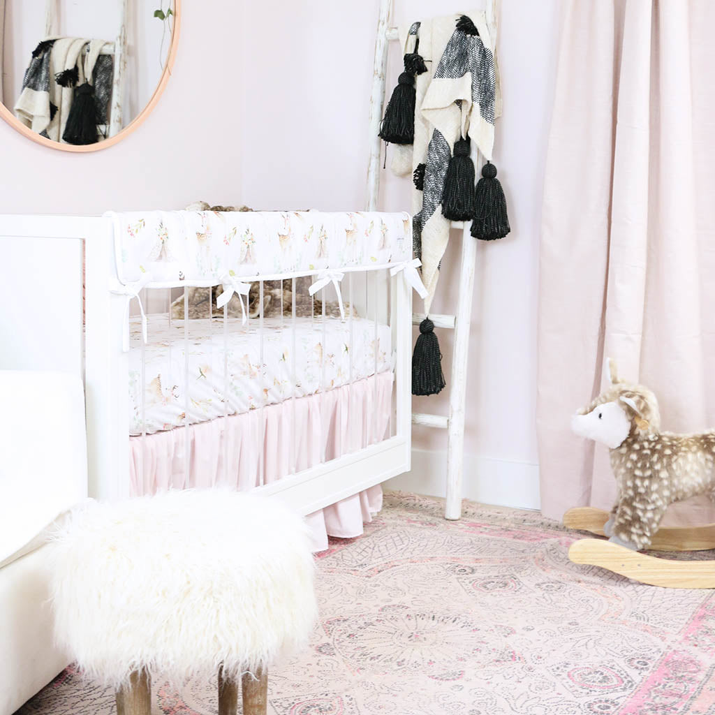 Girl Woodland Deer Nursery with Pink Accents