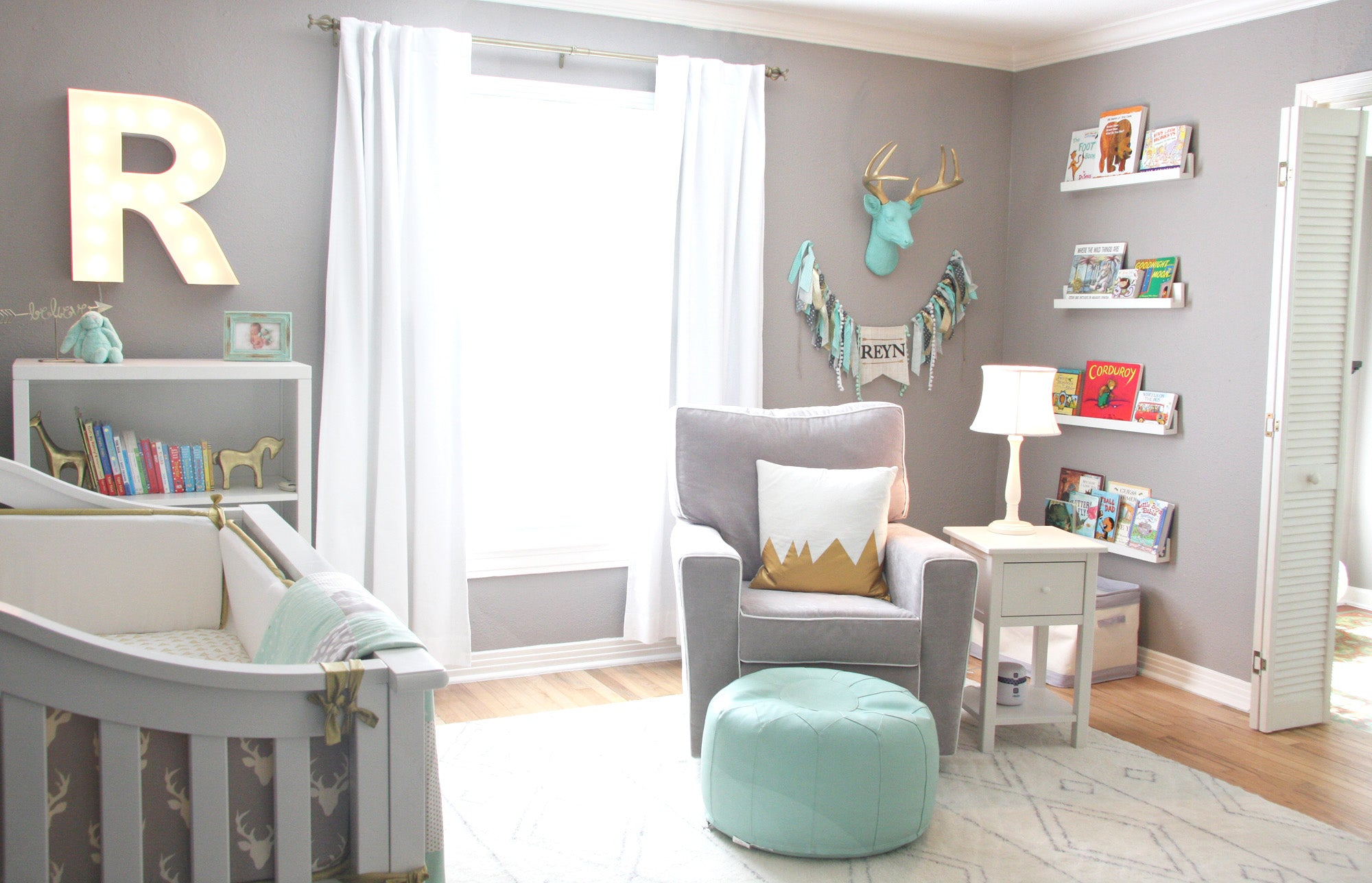 Gray & Mint Baby Boy Nursery with Floating Furniture