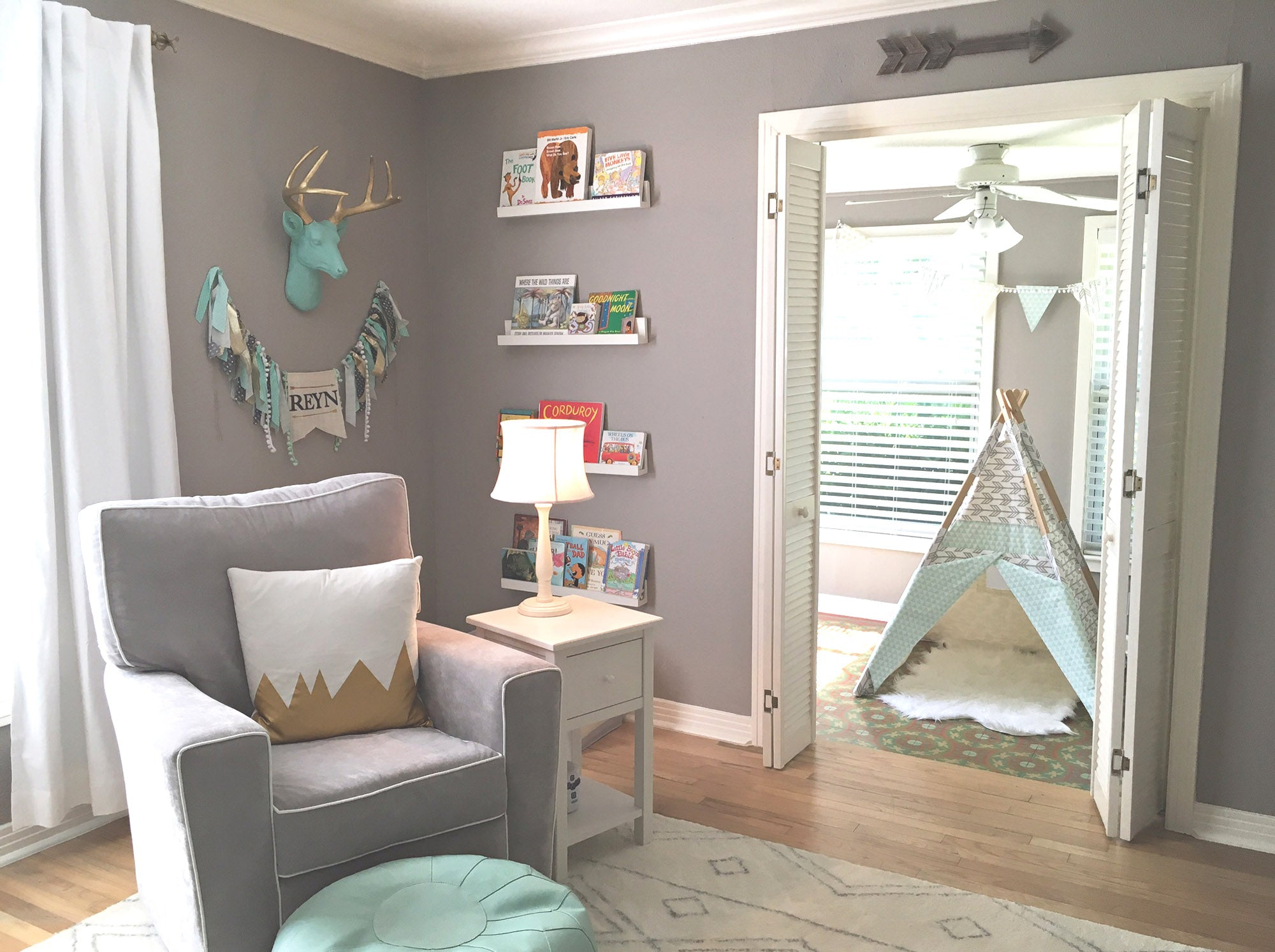 Amazing Sunroom Attached to Baby Reyn's Woodland Nursery with a Gray Arrow TeePee