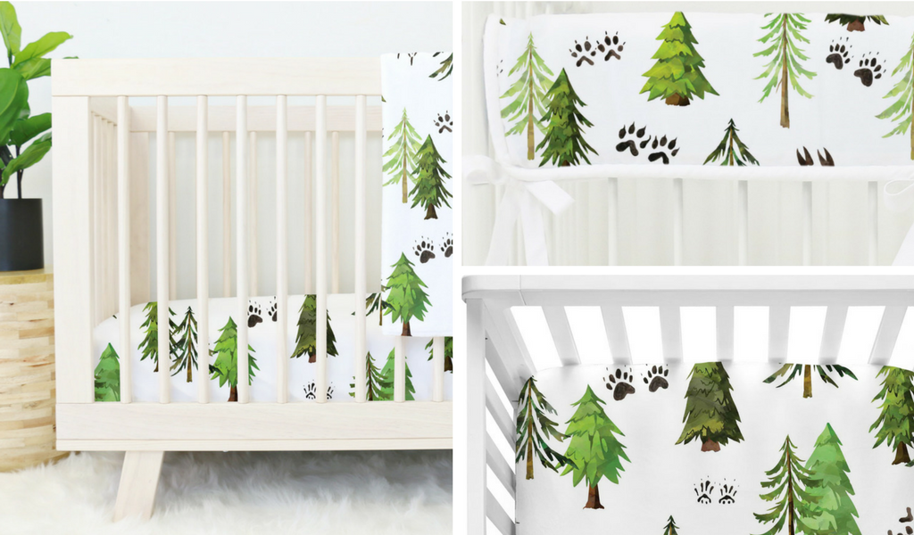 Woodland Trees & Animal Tracks Nursery Bedding Collection