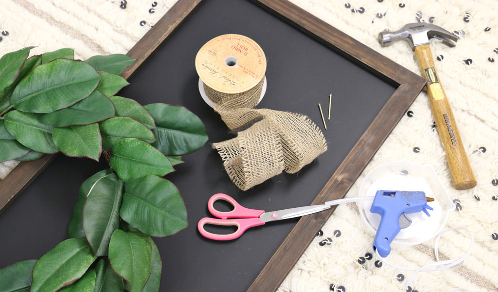 Magnolia Wreath Chalkboard DIY Supplies