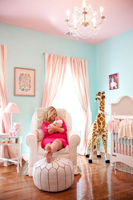 pink and aqua go elegant in this adorable nursery