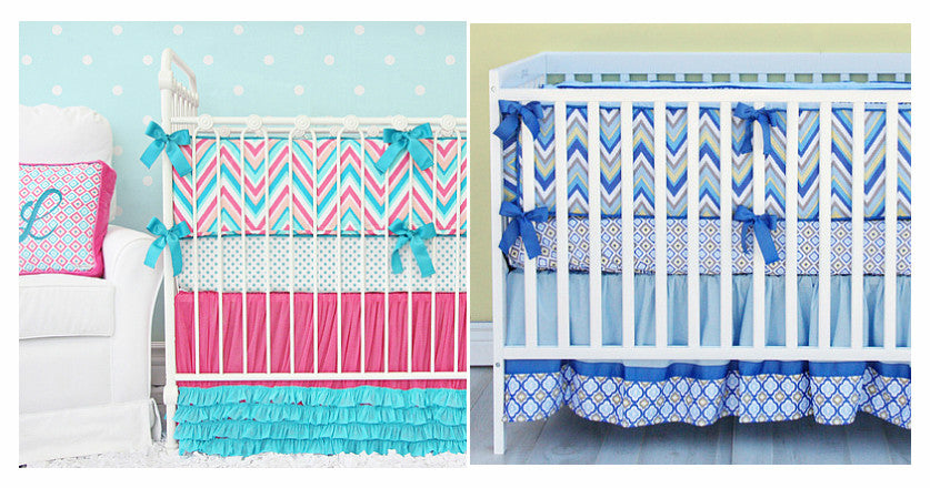 Boy and Girl Chevron Baby Bedding
