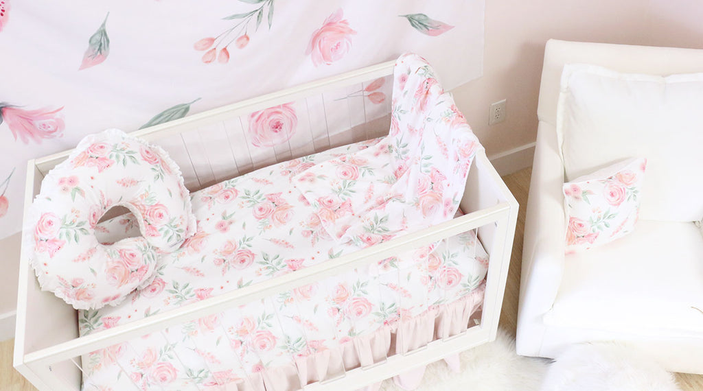 Blush Watercolor Floral Crib Bedding in the Nursery