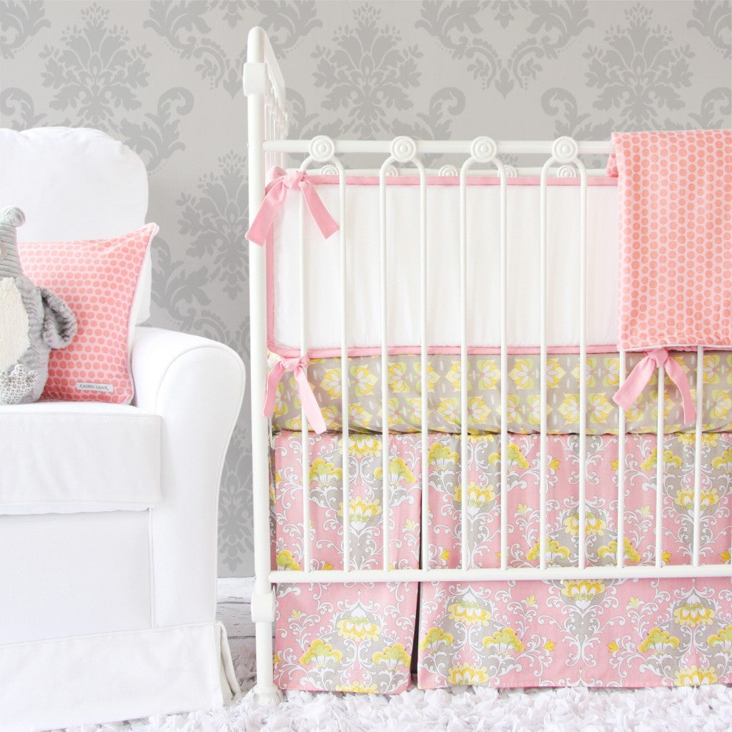 pink and gray baby girl bedding set