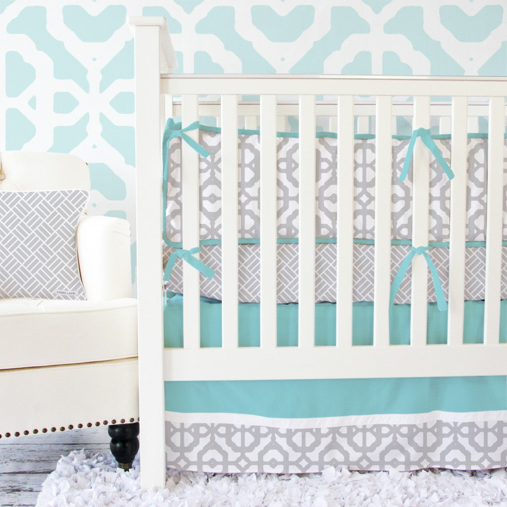 Aqua and Gray neutral crib bedding