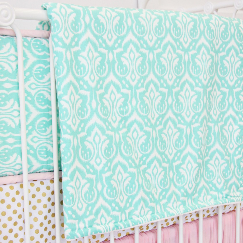 Aqua Damask Baby Bedding