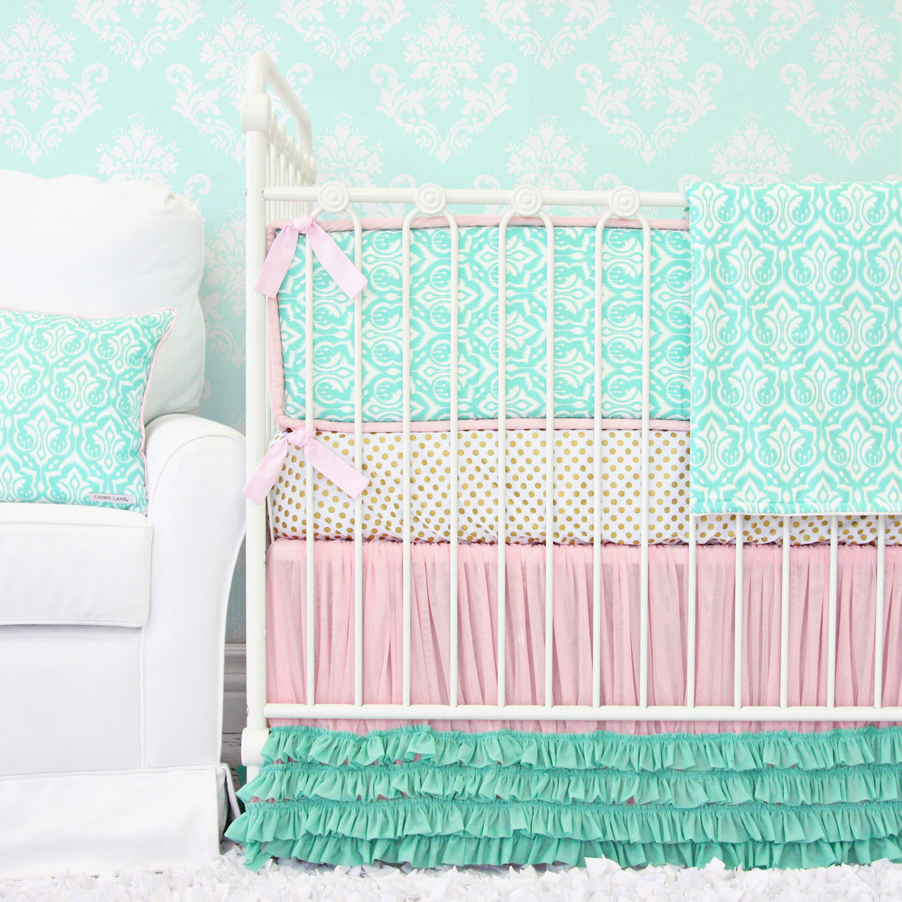 Pink and aqua damask baby bedding