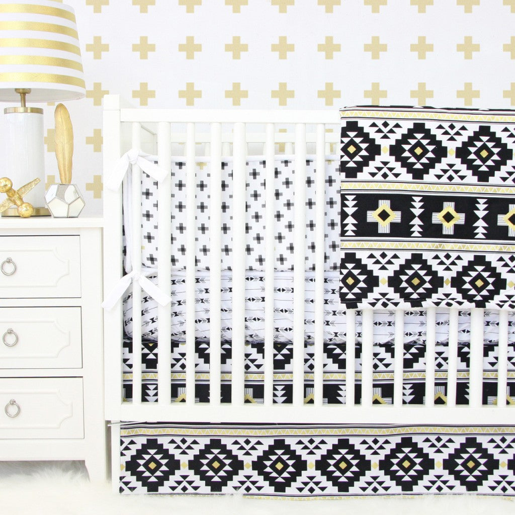 Black and gold Aztec tribal geometric baby bedding