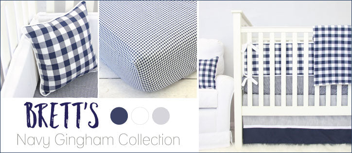 Brett's Classic Navy Gingham Boy Baby Bedding Collection