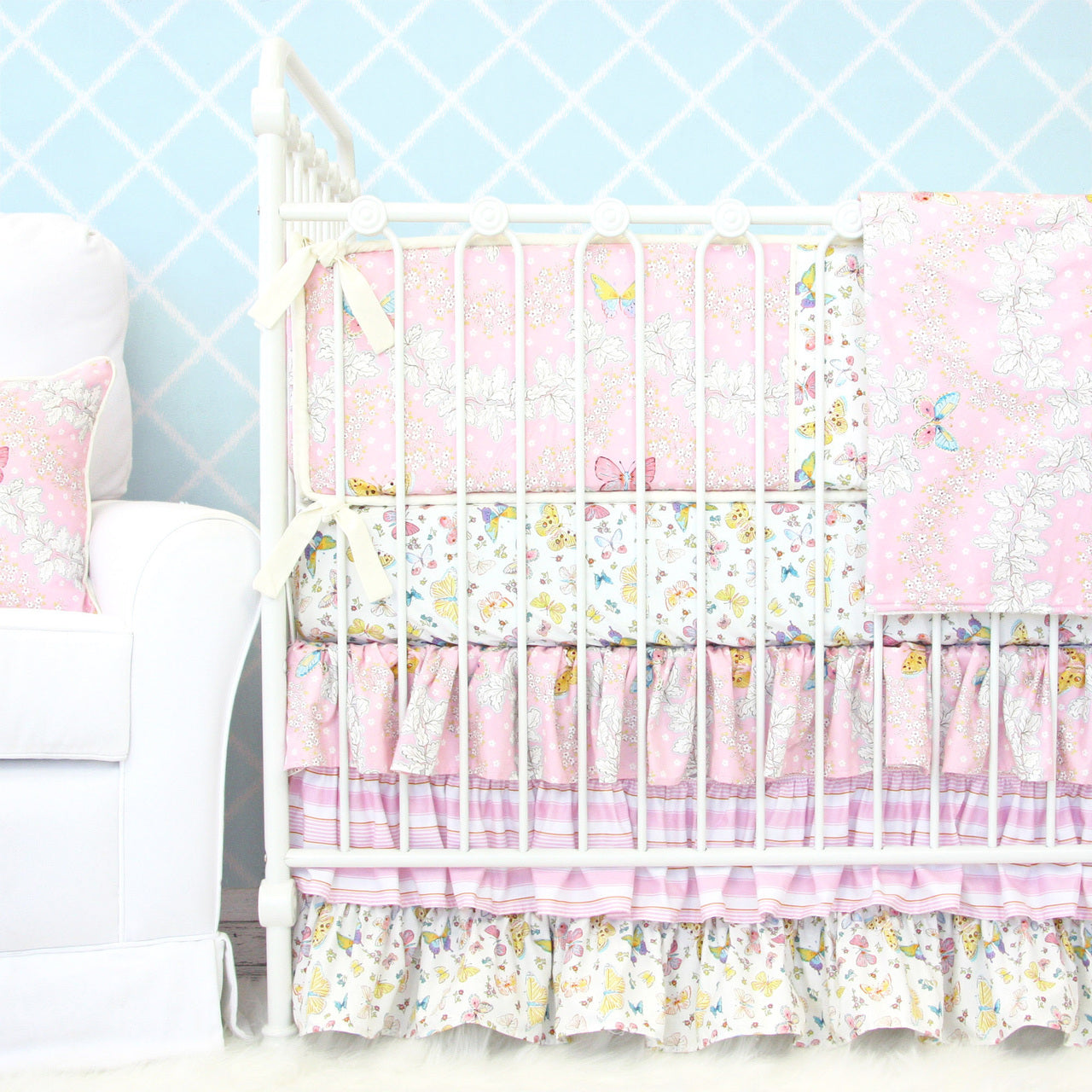 pink floral crib bedding set with butterflies
