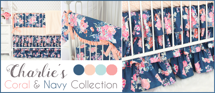 Charlie's Coral & Navy Crib Bedding Collection