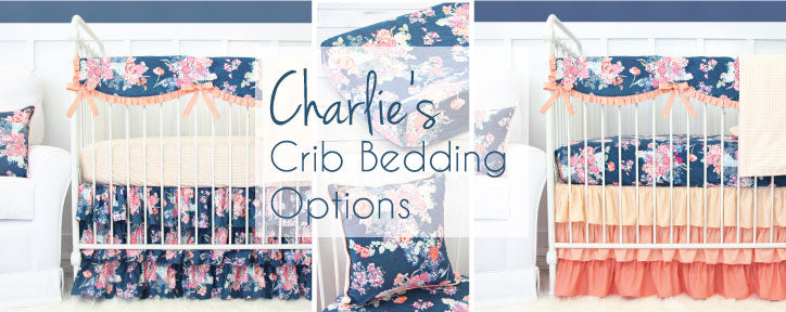 Charlie's Coral & Navy Crib Bedding Options