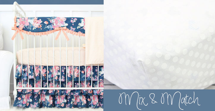 With Crib Skirt Separates you can mix and match like our Charlie's Coral & Navy Floral Crib Skirt and our White Dot Crib Sheet