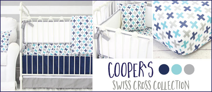 Cooper's Swiss Cross Modern Baby Boy Nursery Bedding Collection