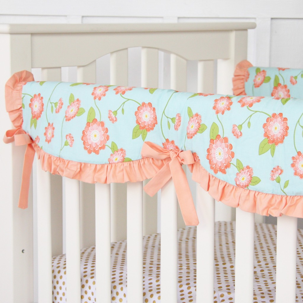 Coral and Mint Baby Bedding