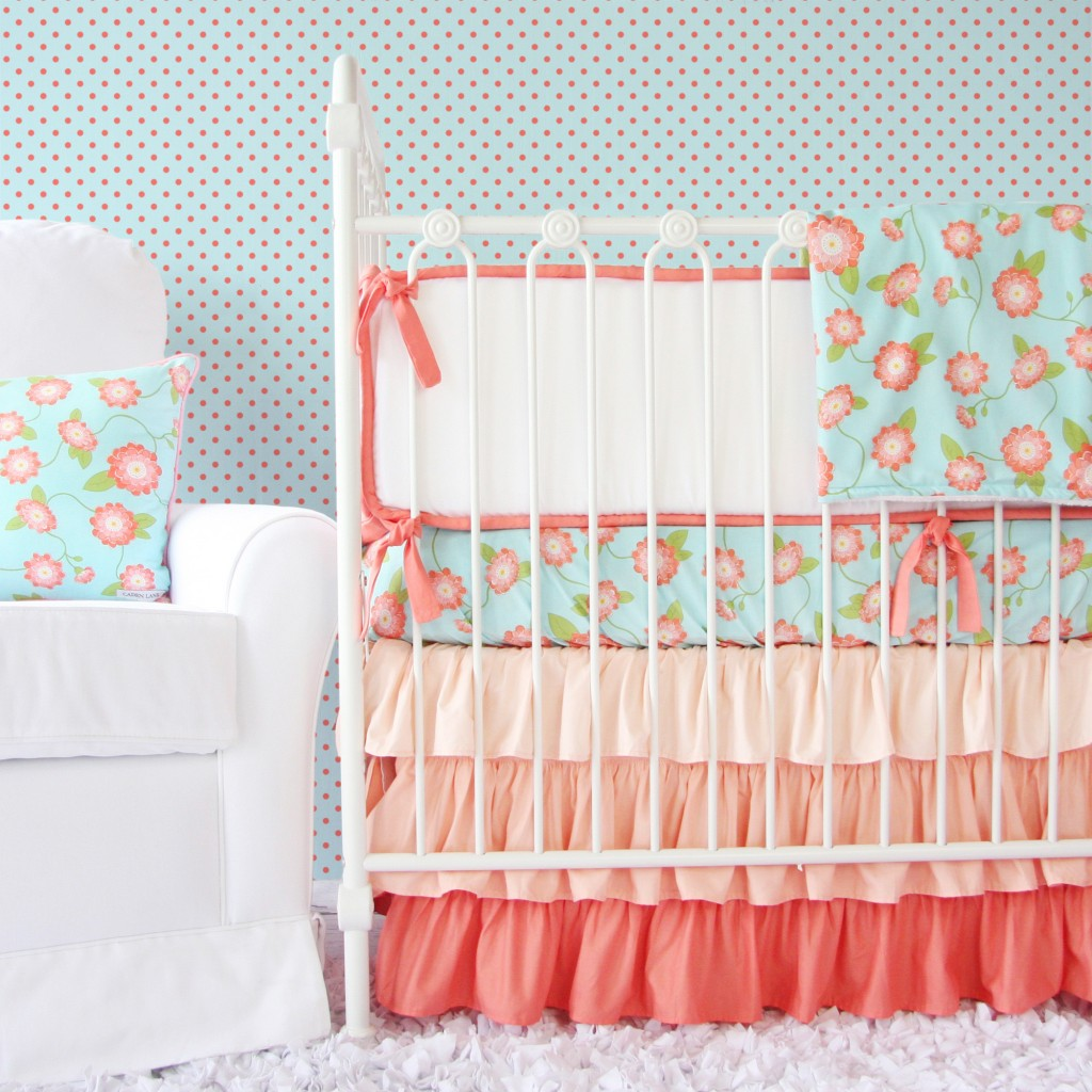 coral and mint baby girl bedding set