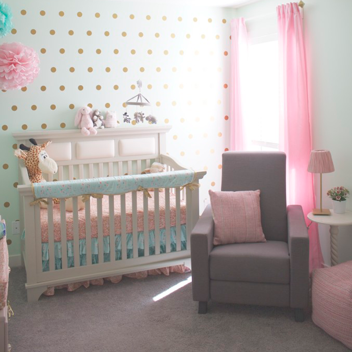 Marion S Coral And Gold Polka Dot Nursery: The Gold Polka Dot Nursery