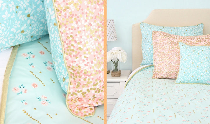 Coral and Gold big girl bedding