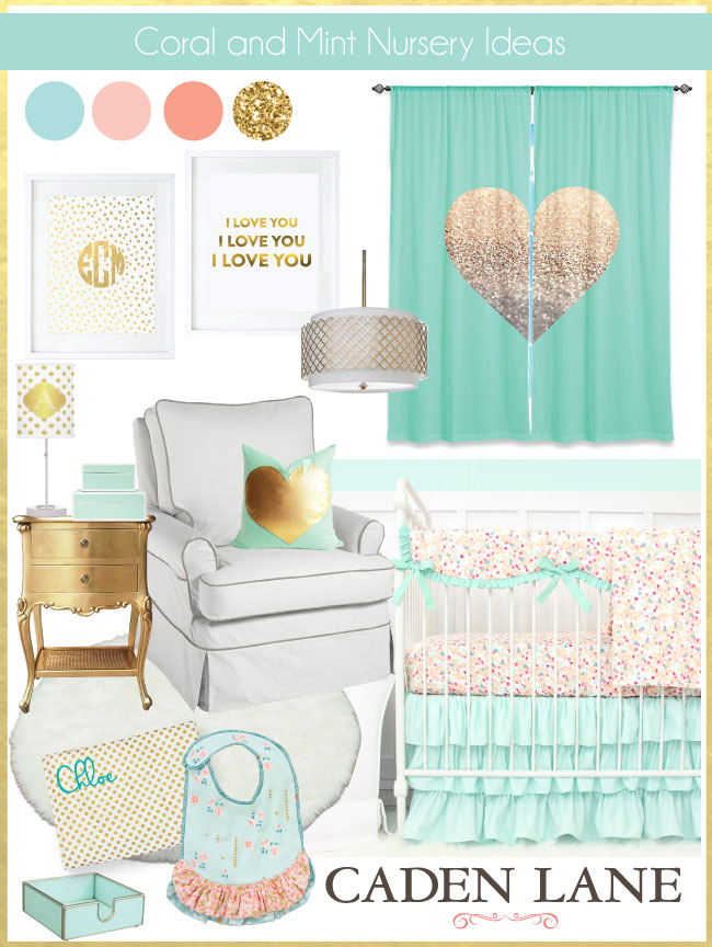 Coral Nursery Ideas: Coral Mint & Gold Nursery Color Palette