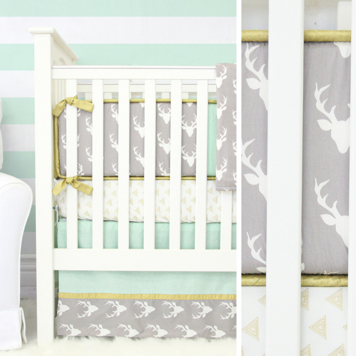 Gray and Mint Deer Bedding