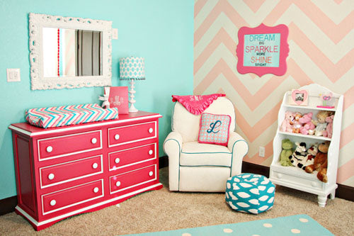 pink and turquoise baby bedding