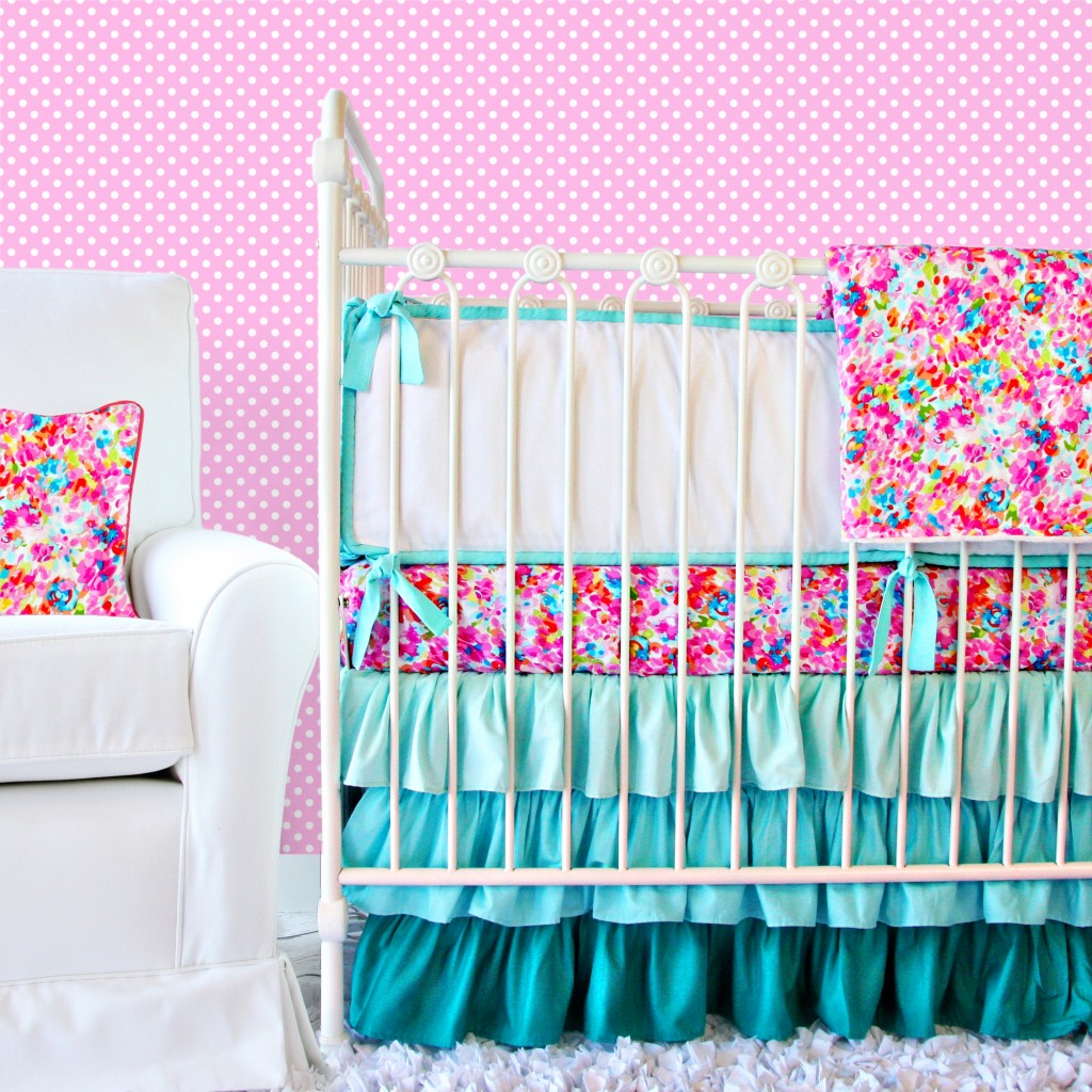 pink and blue crib bedding