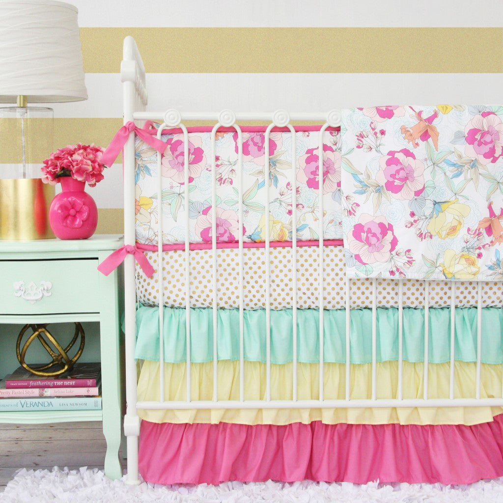 Mint and Gold Baby Bedding