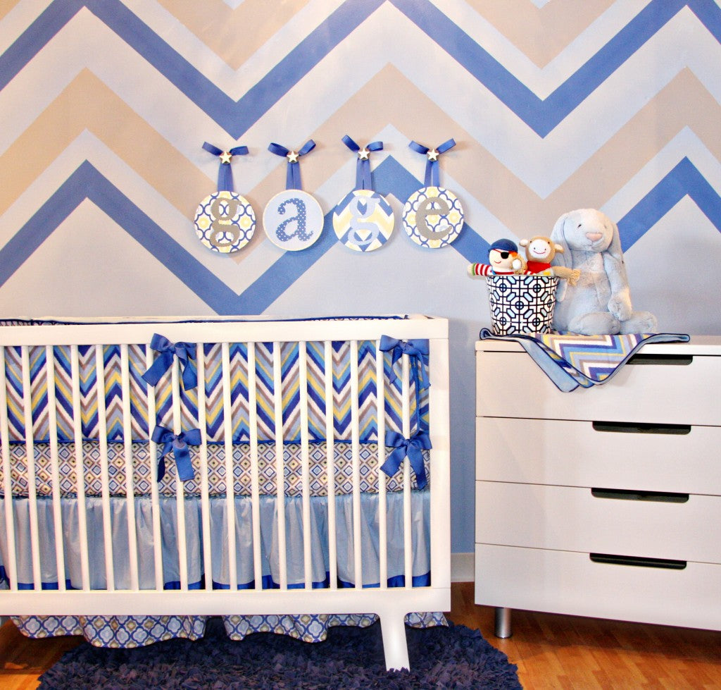 chevron boy crib bedding