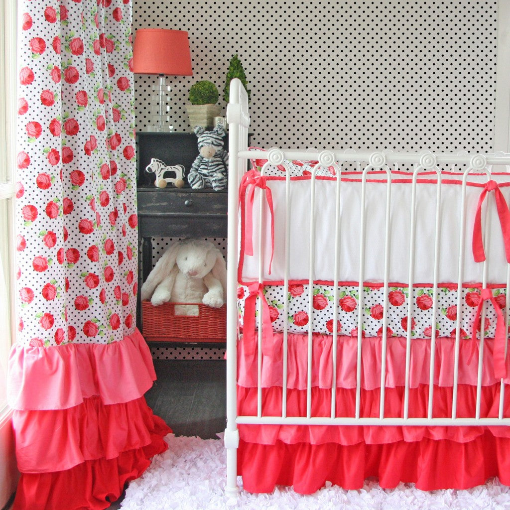 coral rose crib bedding