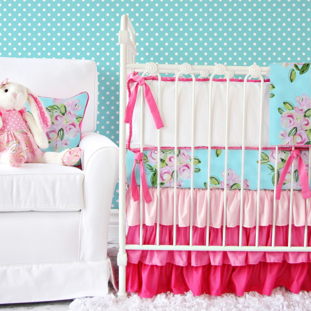 Tiny Bouquet pink and blue crib bedding