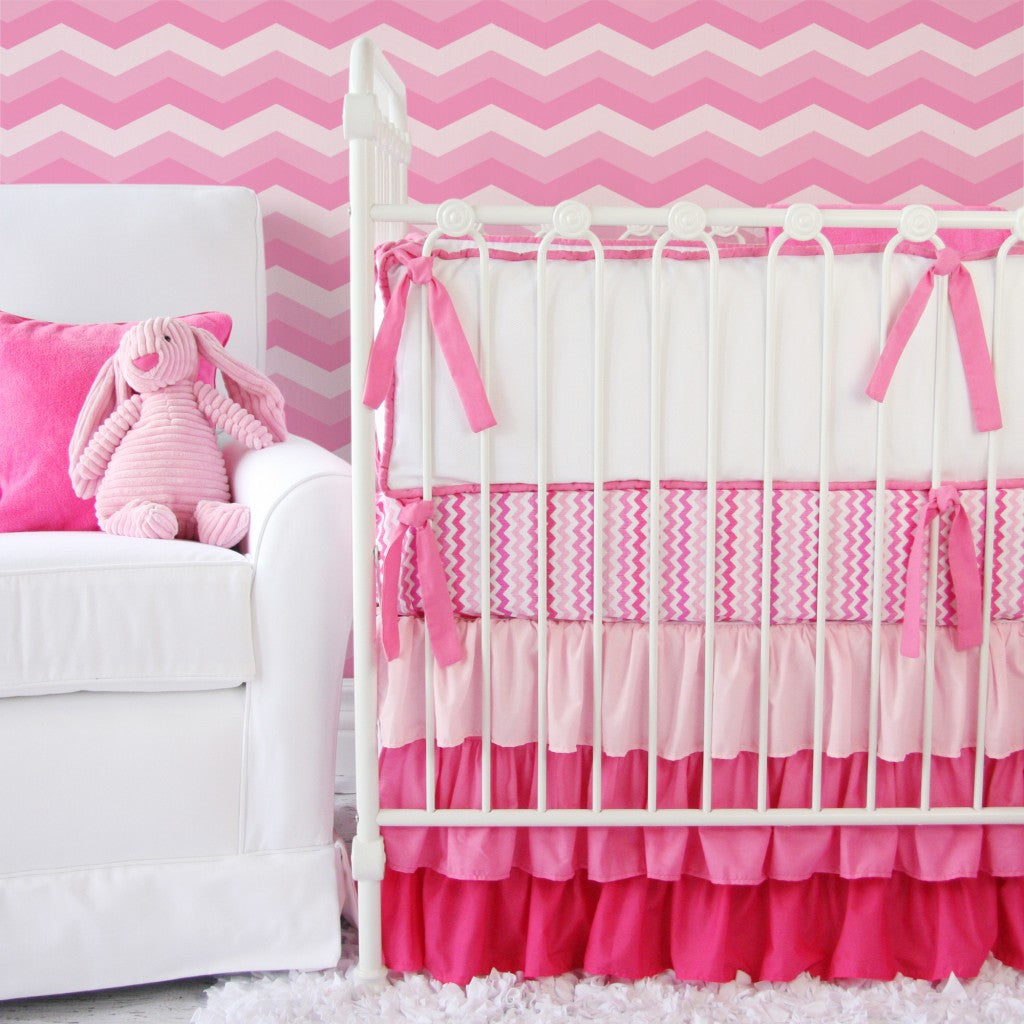 trendy chevron baby bedding
