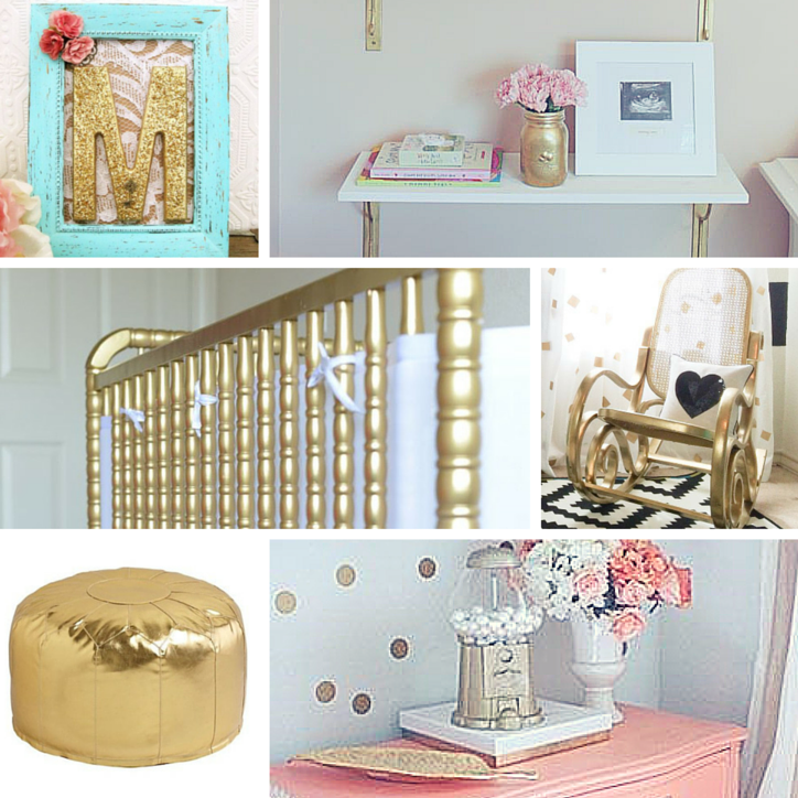 Gold accents perfect for highlighting gold nursery designs