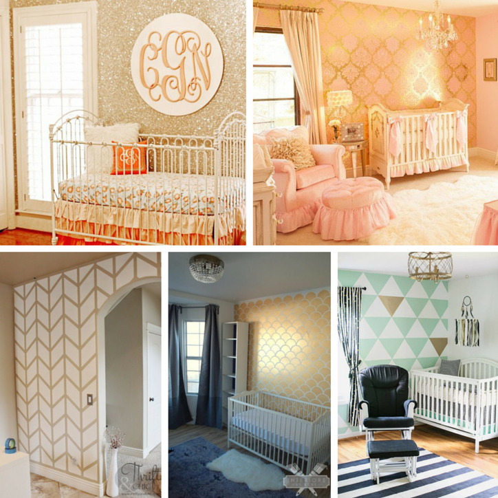 Glitter and Gold walls to match Gold Nursery Designs