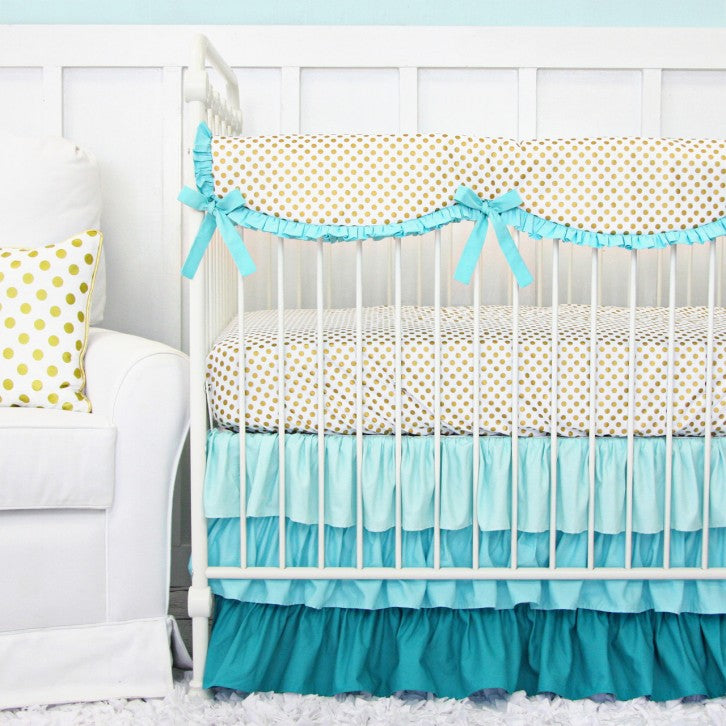 girl aqua baby bedding
