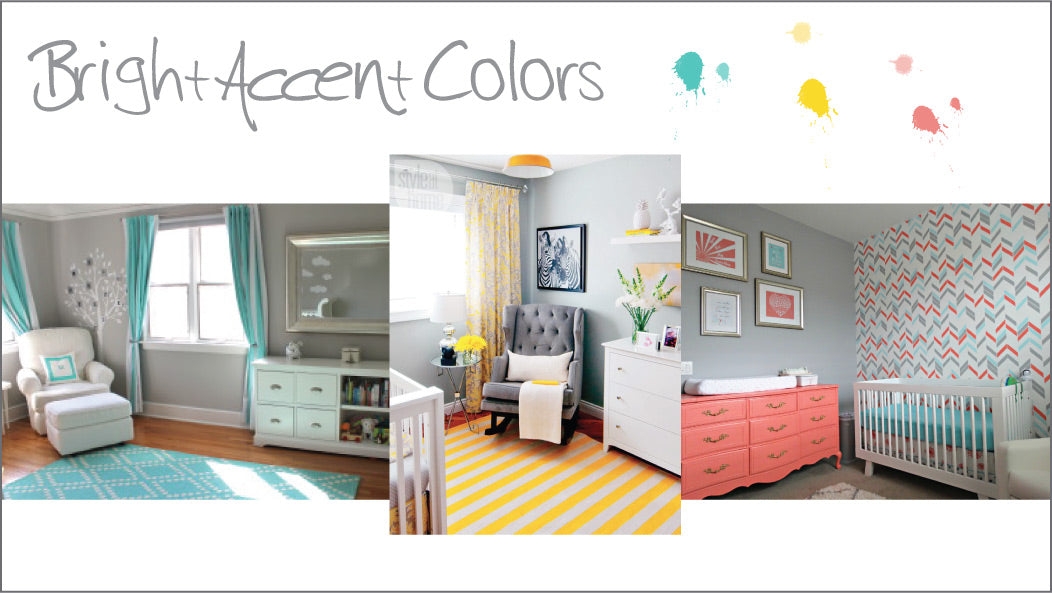 bright accents in gray nurseries