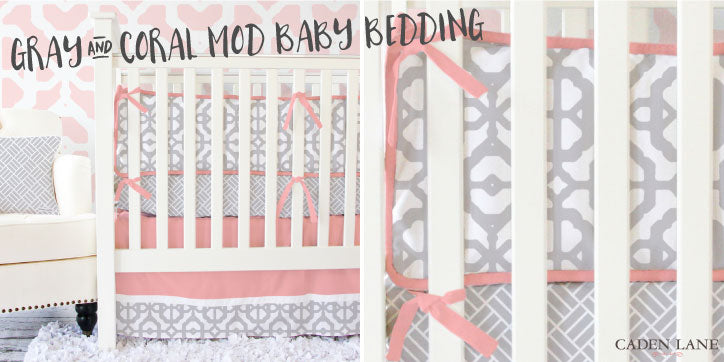 coral and gray nursery bedding for a baby girl's nursery