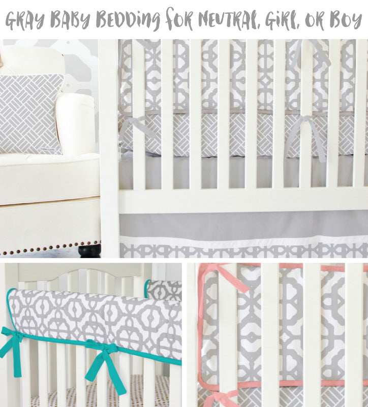 Modern Gray Baby Bedding for a girl, boy, or gender neutral nursery