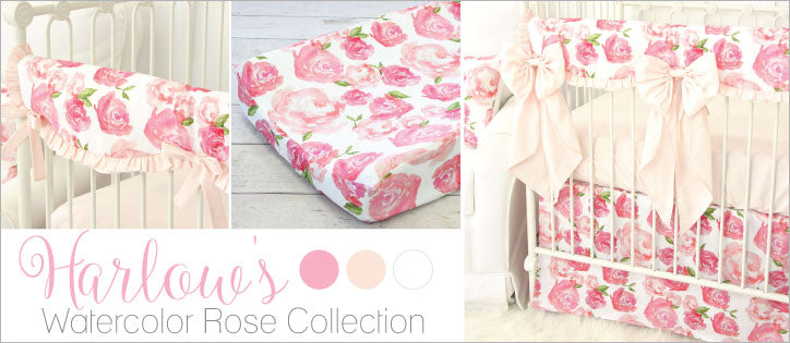 Harlow's Watercolor Rose Pink Crib Bedding Collection