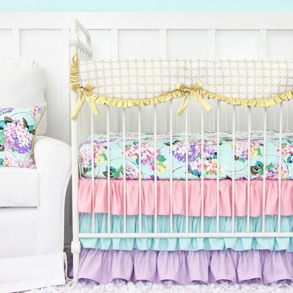 Lilac and Gold Floral Crib Set