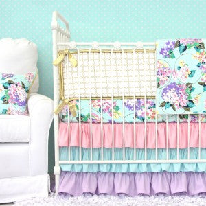 sweet floral baby bedding in pink, purple, mint & gold