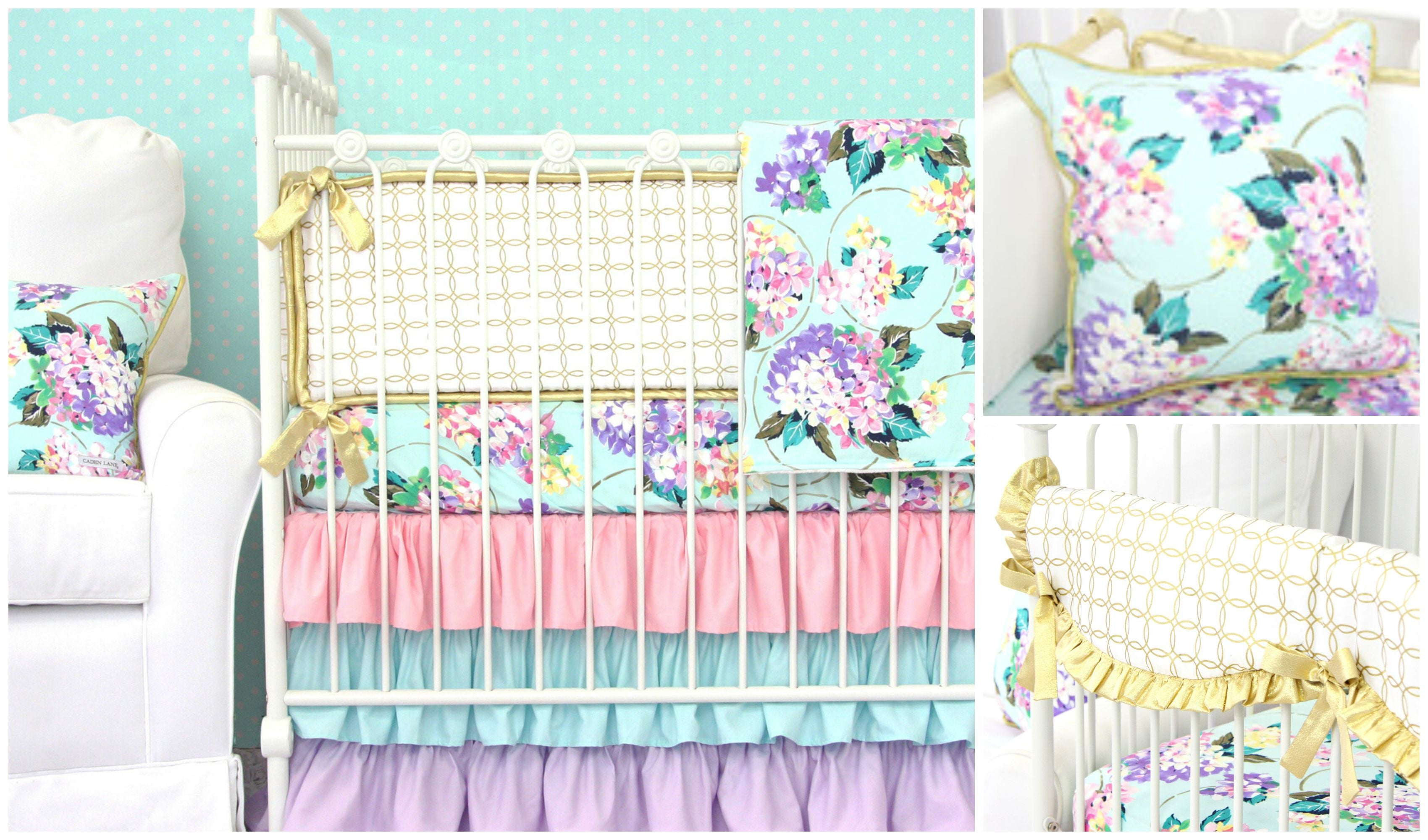 floral crib bedding for an aqua nursery design