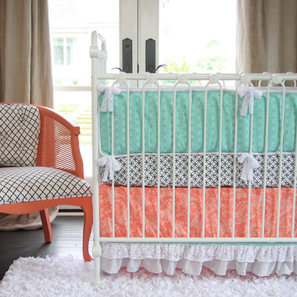 Coral and Teal Baby bedding