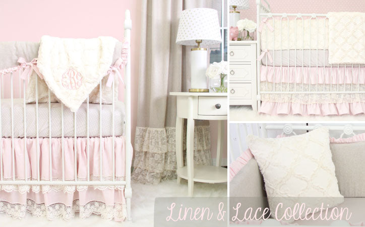 Linen & Lace Crib Bedding Collection in Soft Pastel Colors
