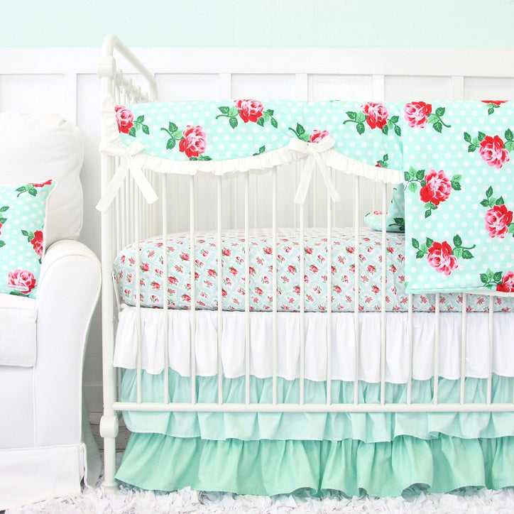 Lucy's Mint Floral Crib Bedding