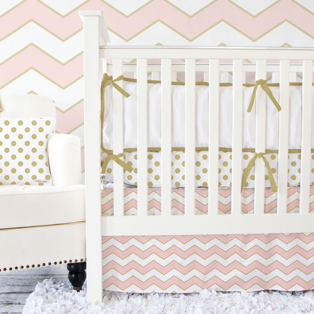 Metallic Chevron Coral and Gold Bedding