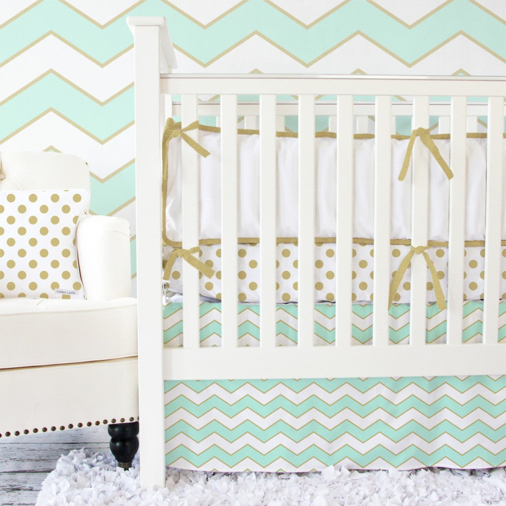 Metallic Gold and Mint Chevron Baby Bedding